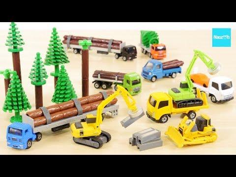 森! トミカ てあそびたくさん 工事現場セット 木材運搬車 ショベルカー 重機トラック ブルドーザー リフマグ / Tomica Construction vehicle set