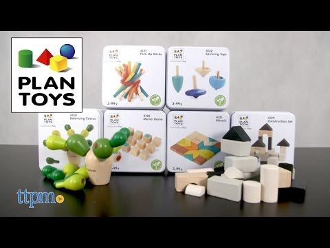 Memo Game, Pick-Up Sticks, Mosaic, Balancing Cactus, Construction Set & Spinning Tops from Plan Toys