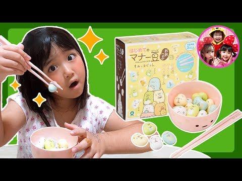 すみっコぐらしはじめてのマナー豆でおはしの練習をしよう❤️ 教育 しつけ マナー箸 ゲーム チャレンジ 挑戦